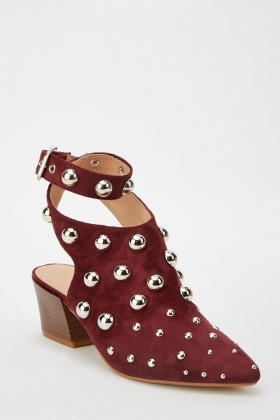 Studded Cut Out Back Ankle Boots