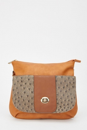 Textured Flap Front Cross Body Bag