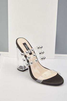 Transparent Studded Heeled Sandals