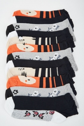 12 Pairs Of Contrasted Womens Socks