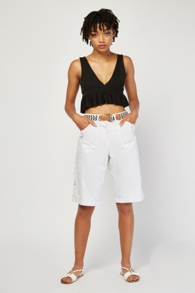 Belted Long Line Bermuda Shorts