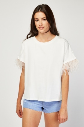 Feather Trim Plain T-Shirt