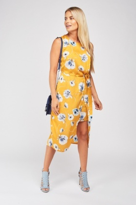 Flower Print Midi Tulip Dress