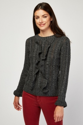 Ruffle Cable Knit Jumper