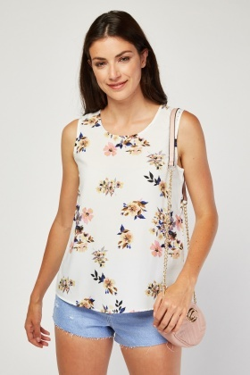 Sleeveless Floral Chifon Top
