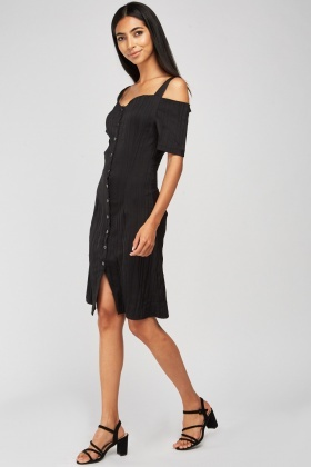 Cold Shoulder Rib Textured Dress