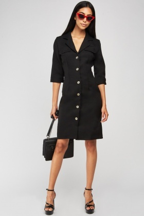 Lapel Front Fitted Blazer Style Dress