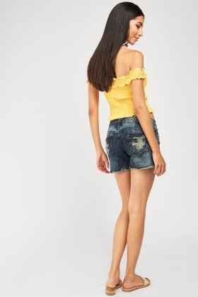 Raw Edge Mini Denim Shorts