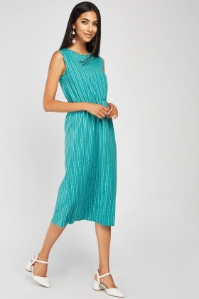 Sleeveless Pin Striped Midi Dress