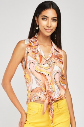 Sleeveless Retro Print Sateen Blouse