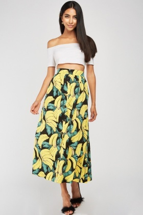 Banana Print Pleated Midi Skirt