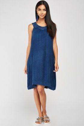 Contrasted Trim Denim Style Tent Dress