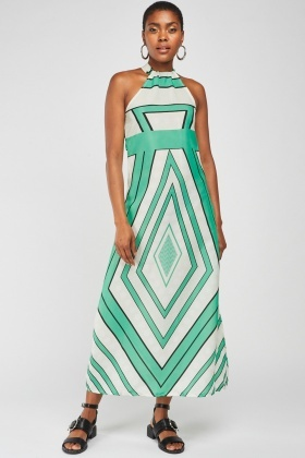 Geometric Halter Maxi Dress
