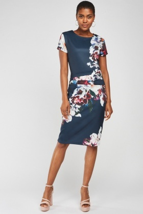 Printed Pleated Panel Midi Dress