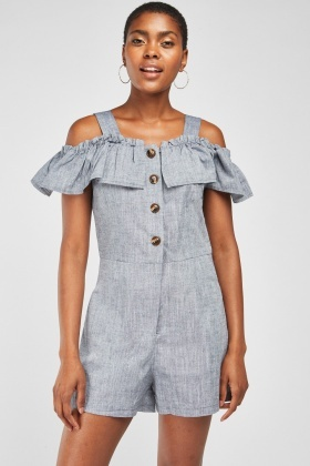 Ruffle Panel Cotton Playsuit