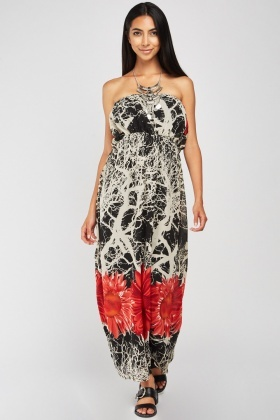 Scattered Flower Print Strapless Dress