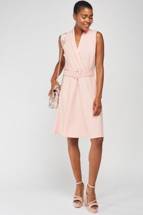 Sleeveless Wrap Front Skater Dress