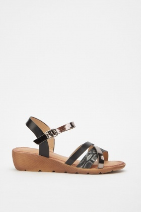 Contrast Criss Cross Mini Wedge Sandals