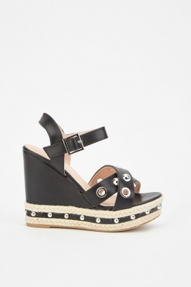 Eyelet Trim Faux Leather Wedge Sandals