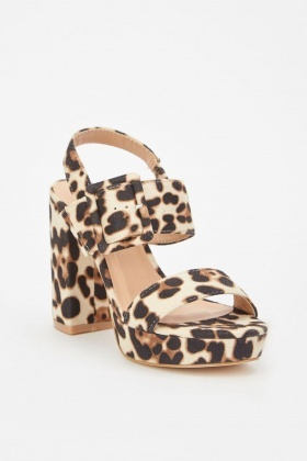Leopard Print Block Heeled Sandals