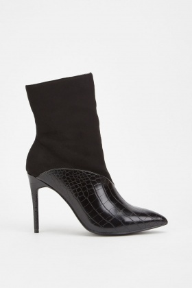 Lost Ink Ava Croc Textured Stiletto Ankle Boots