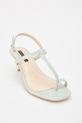 LOST INK Rosie Toe Loop Metal Kitten Heeled Sandals
