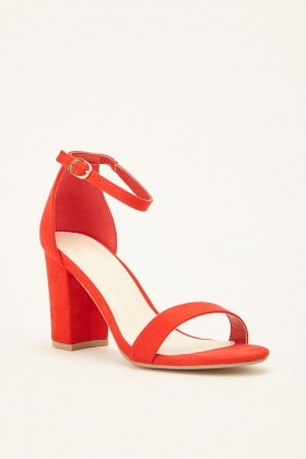 Suedette Ankle Strap Block Heeled Sandals