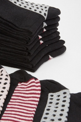 12 Pairs Of Contrasted Socks