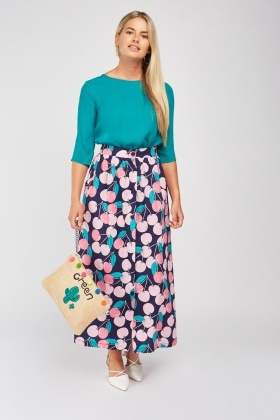 Apple Print Maxi Skirt