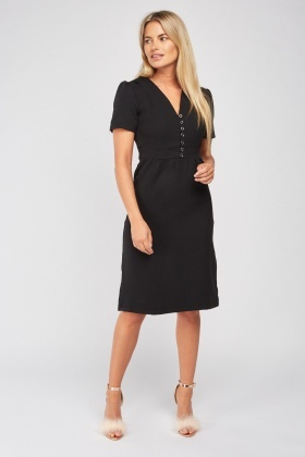 Buttoned Front Midi Dress