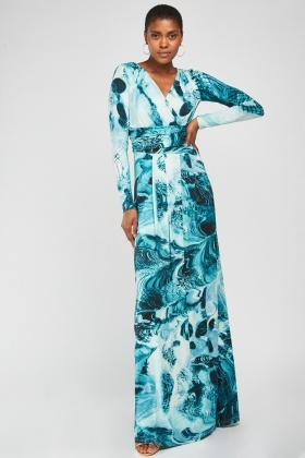 Long Sleeve Maxi Draped Dress