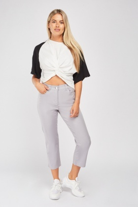 Mid Rise Cropped Chino Trousers