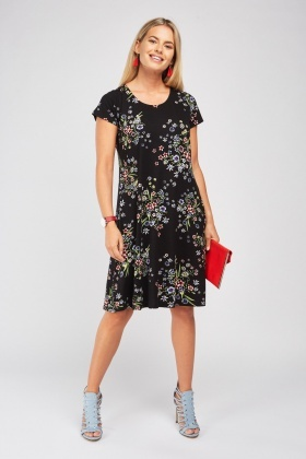 Mixed Flower Print Tunic Dress