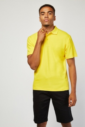 Pack Of 3 Plain Yellow Polo-Shirts
