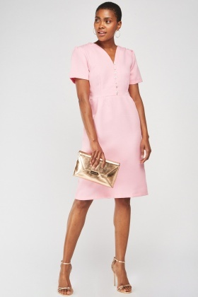 Short Sleeve Midi Textured Dress