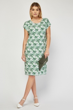 Tropical Palm Print T-Shirt Dress