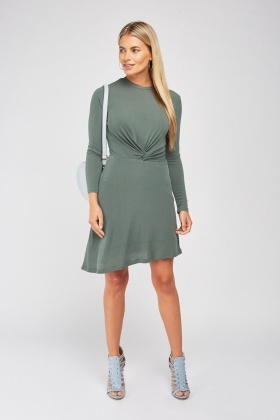 Twisted Front Ribbed Swing Dress