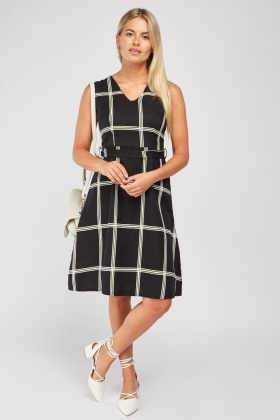 Window-Pane Print A-Line Dress