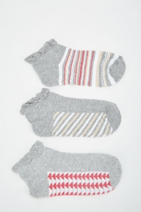12 Pairs Of Womens Contrasted Socks