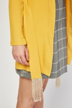 Fringed Tie Up Ribbed Cardigan