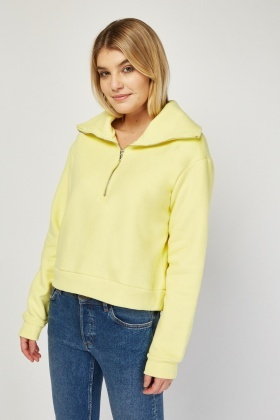 Oversized Collar Yellow Sweatshirt