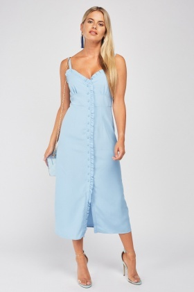 Ruffle Trim Blue Midi Dress