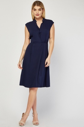 Sleeveless Collared Midi Swing Dress