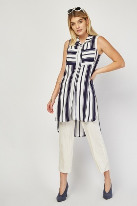 Sleeveless Dip Hem Striped Blouse