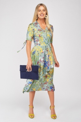 Wrap Front Printed Midi Dress