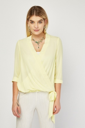 Yellow Chiffon Wrap Blouse
