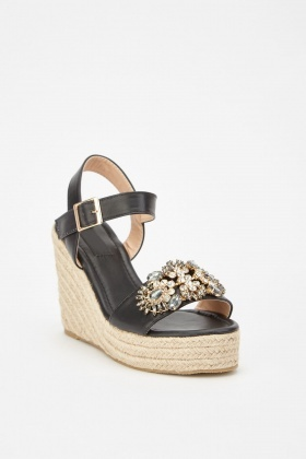 Embellished Faux Leather Wedge Sandals £5.00