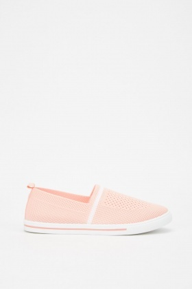 Perforated Knitted Flat Plimsolls