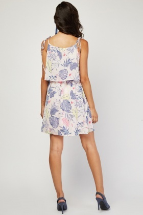 Botanical Print Halter Neck Dress