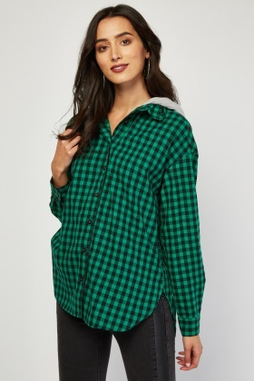 Long Sleeve Checkered Hooded Shirt